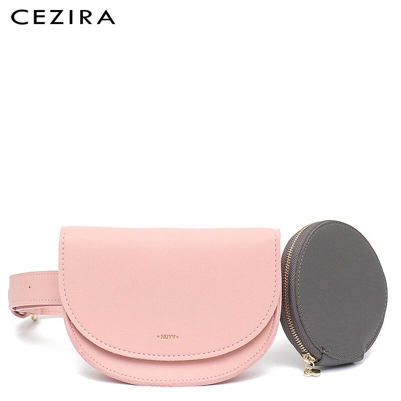 CEZIRA Fashion Style Women Shoulder Belt Bag Brand Designer Vegan Leather Waist Bag Hand Free Bags Lady Pouch Belt Waist Pack