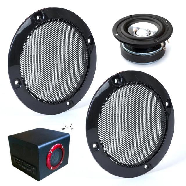 "CITALL Car DIY 2pcs 3"" Inch Black Circle Speaker Decorative Circle w/Black Protective Grille Mesh"