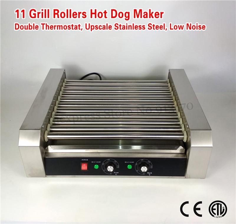 Hot Dog Roller Maker Hotdog Comercial Aço Inoxidável Máquina de Grelhar 11-roller 2200-Watt de Baixo Ruído