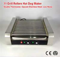 Hot Dog Roller Grilling Machine Stainless Steel Commercial Hotdog Maker 11-roller 2200-Watt Low Noise