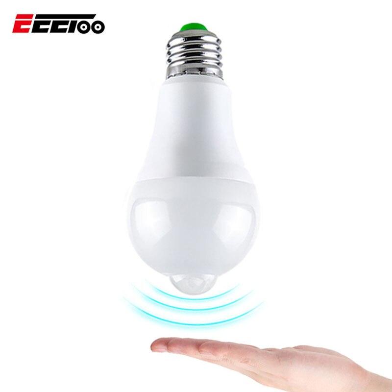 EeeToo LED Smart PIR Motion Sensor Bulb E27 B22 12W 18W Led Emergency Light Bulbs 85-265v Warm White Lamps for Outdoor Lighting