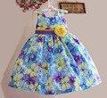Новинка платье ребенка с желтым бантом девушка цветок платье принцессы ну вечеринку дети одеваются для 3 - 7 лет