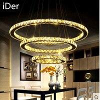 3 Круги 65 Вт LED K9 хрустальная люстра горячие продажи кольцо с бриллиантом Современные нержавеющей стали лампы