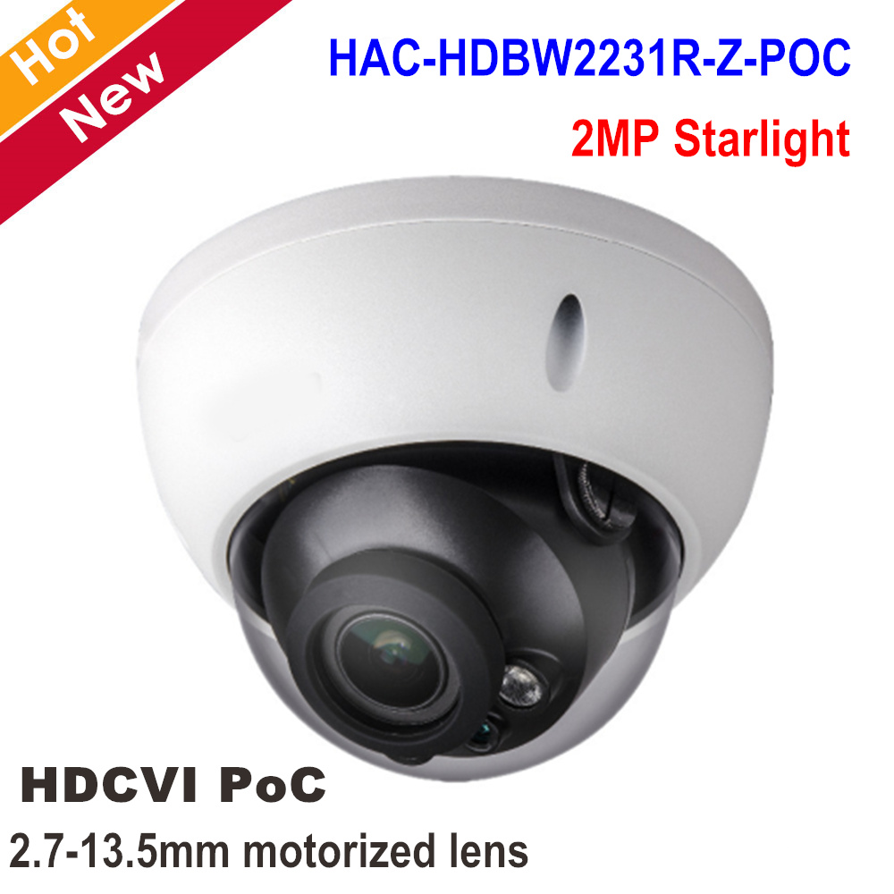 цена DH 2MP Starlight HDCVI IR Survillance Dome Camera HAC-HDBW2231R-Z-POC 2.7-13.5mm Motorized Lens POC Camera Smart IR 30m