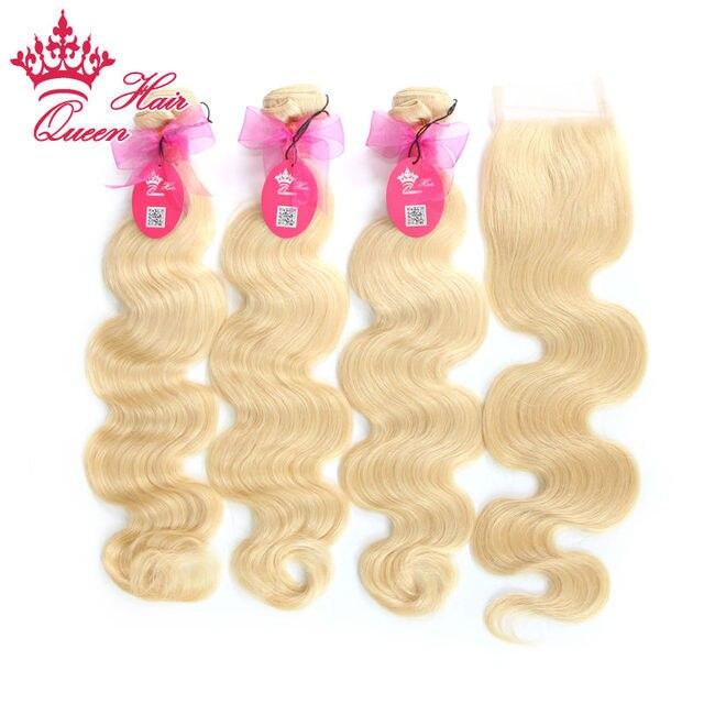 Queen Hair Products 4 шт./лот Бразильские Волосы Девственницы Объемная Волна 7А Класс Человеческих Волос Lace Closure с Пучками, беленой #613 Блондинка
