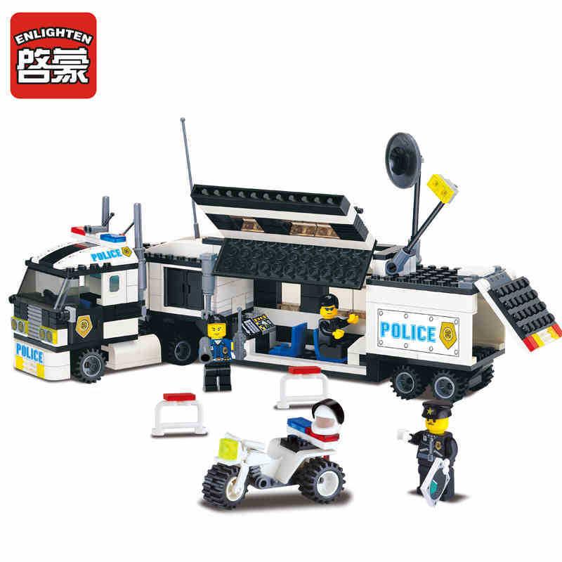 ENLIGHTEN 325Pcs Police Truck Building Blocks Sets playmobil Educational DIY Bricks Kids Toys For Children Gift