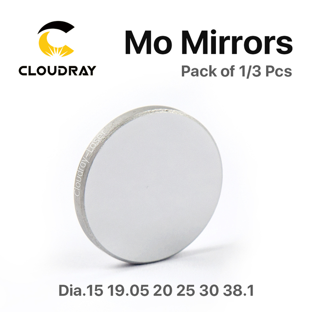 Cloudray High Quality Mo Mirror Dia. 15 19.05 20 25 30 38.1mm THK 3mm for CO2 Laser Engraving Cutting Machine Pack of 1 / 3 Pcs