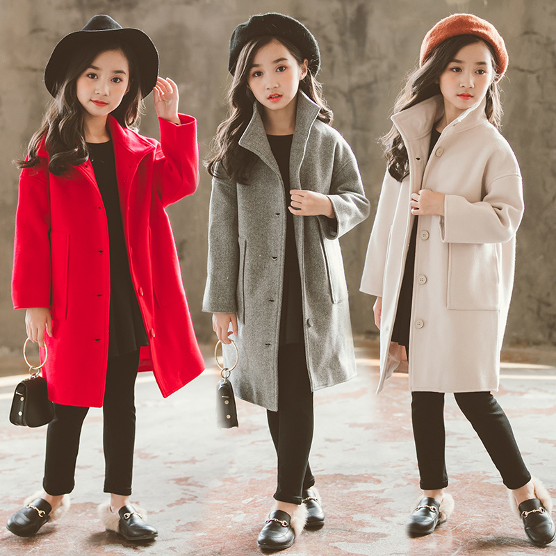2018 Autumn Winter Girls Woolen   Coat   Fashion Design Long   Coat   for Girls Kids Outerwear Jacket RT178