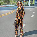 2017 New Spring Summer Runway Designer Pajamas Two Piece Set Women's High Quality Print Long Sleeves Blouse+Trousers Twinset