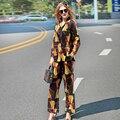 2017 Nova Primavera Verão Pista Designer de Pijama Conjunto de Duas Peças das Mulheres de Alta Qualidade de Impressão Blusa de Mangas Compridas + Calças Twinset