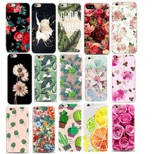 Etui na telefon dla iphone 7 7Plus 6 6S 5 5S SE etui miękkie etui tpu kwiat liście ptak dla iphone 6S 8Plus coque iphone xs tanie tanio GLSHST Aneks Skrzynki Cactus Plants Fashion Soft TPU Rubber Silicon Cover Capa Apple iphone ów IPhone SE Iphone 5 IPhone 8 Plus