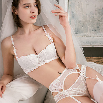 Sexy Cotton Embroidery Lace Set Bra+Panties+Garter 1