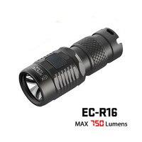 Rechargeable Mini Flashlight JETBeam EC R16 Black Cree XP L Max 750lumens Beam Throw 150 Meters