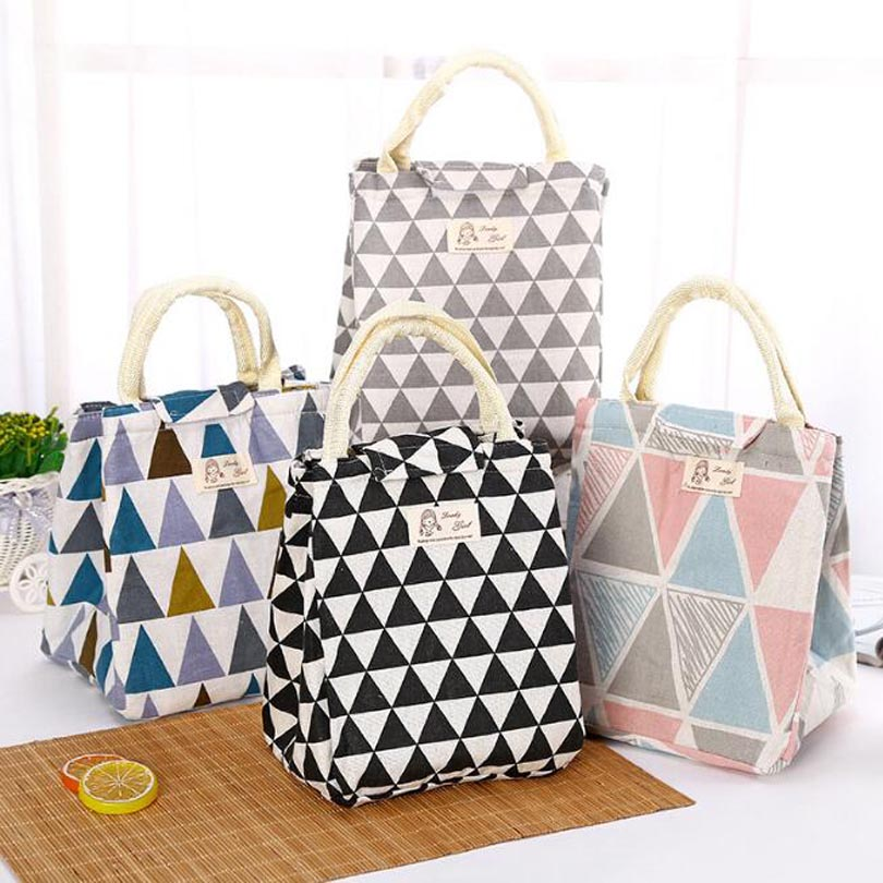 Waterproof Canvas Lunch Bag For Women Kids Men Food Cooler Lunch Box Bags Tote Cooler Lunch Bag Insulation Package Portable