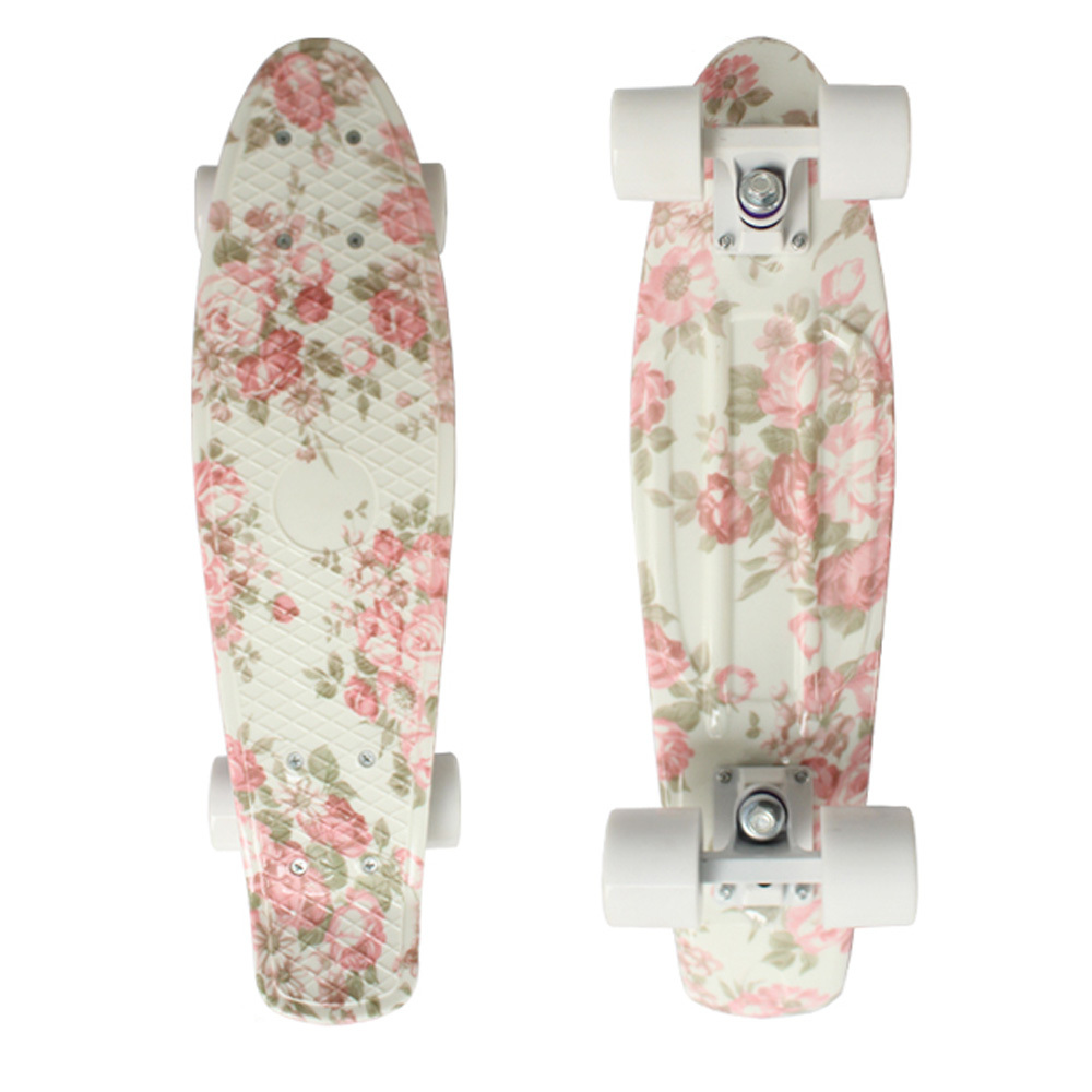 CHI YUAN Mini Cruiser Board Plastic Skateboard 22 X 6 Retro Longboard Skate Long Board Floral Graphic Printed CHI YUAN Mini Cruiser Board Plastic Skateboard 22 X 6 Retro Longboard Skate Long Board Floral Graphic Printed