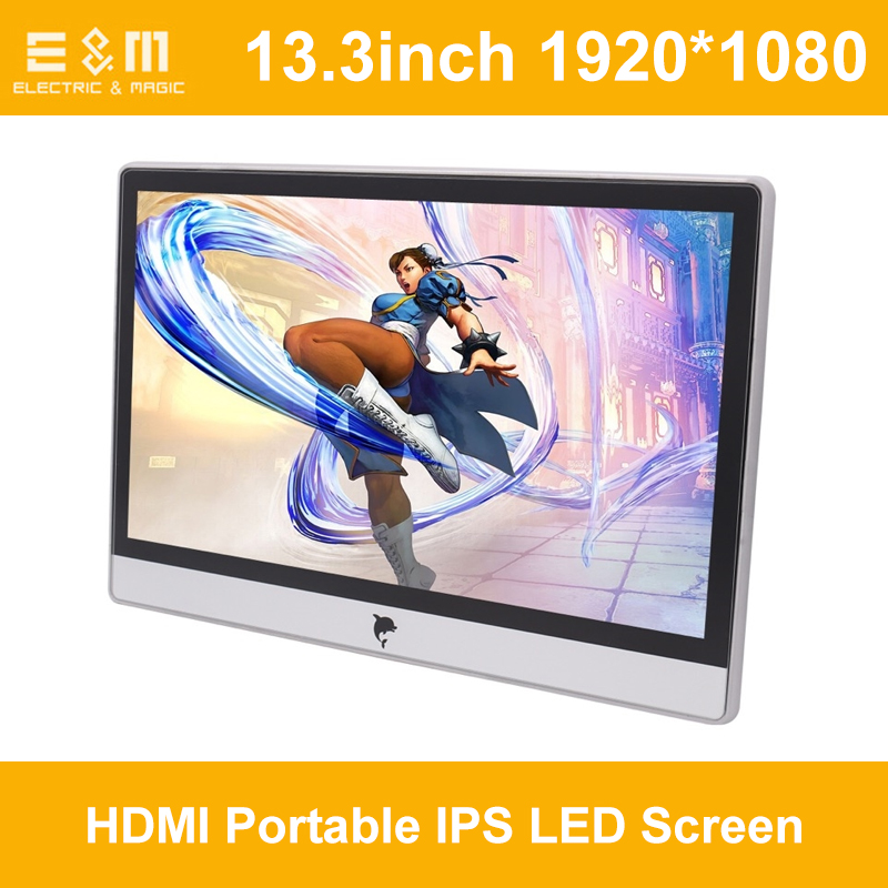 13.3 Inch IPS Full View Angle HDMI 1080P Portable IPS LED Screen For Ps3 PS4 Raspberry Pi PC Laptop Second Monitor With Speaker