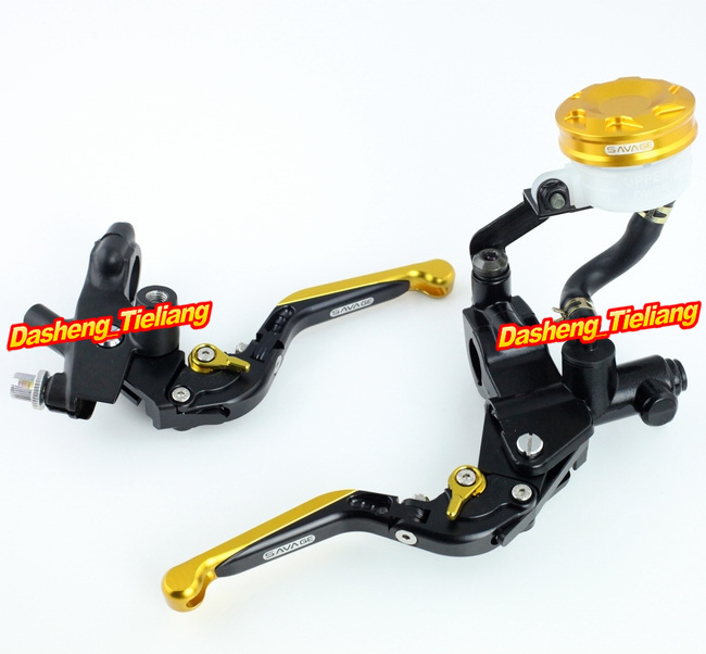 Universal 7/8 22mm Motorcycle Brake Clutch Lever Master Cylinder Kit Reservoir Gold Aluminum Alloy High Quality 38mm cylinder barrel piston kit