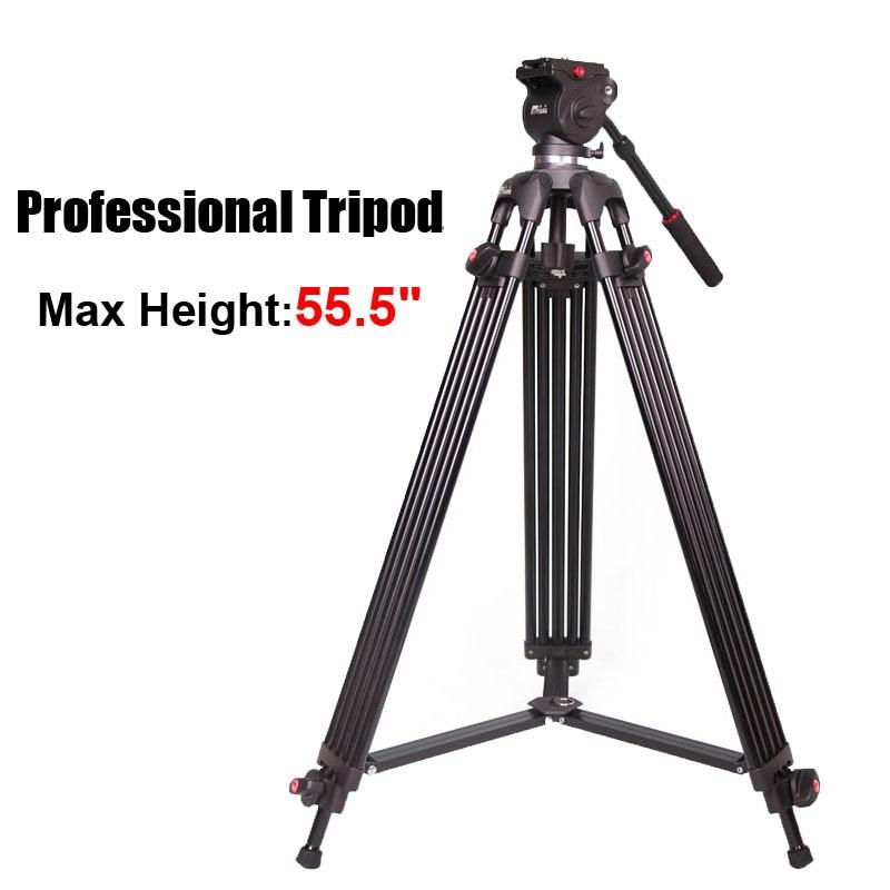 JY0508B JIEYANG Camcorder Professional Tripod for Video Camera Stand / DSLR Heavy Video Tripod/ Fluid Head /55.5 inch Max Height wt3110a 40 inch aluminum tripod stand for camera dslr camcorder