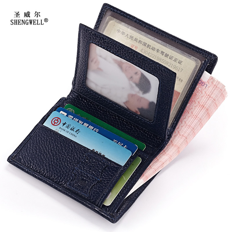 2017 New Genuine Leather Men Driving License small wallet wholesale female short slim leather wallet Women Vertical Card holder