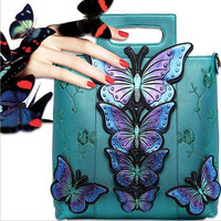 National Style Butterfly Embroidered Women Fashion Leather Handbags Female Brand Shoulder Bag Casual Tote Cross Body Bag