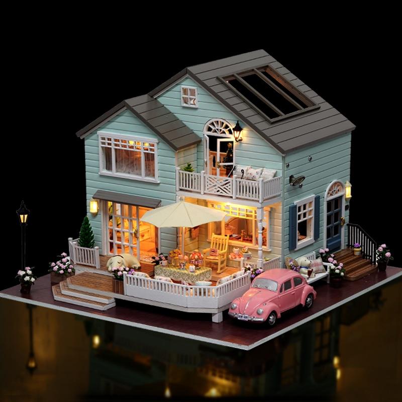 DIY ตุ๊กตา House Miniature ตุ๊กตาเฟอร์นิเจอร์ LED 3D บ้านไม้ของเล่นสำหรับของขวัญเด็กงานฝีมือทำด้วยมือ A035 # E-ใน บ้านตุ๊กตา จาก ของเล่นและงานอดิเรก บน   1