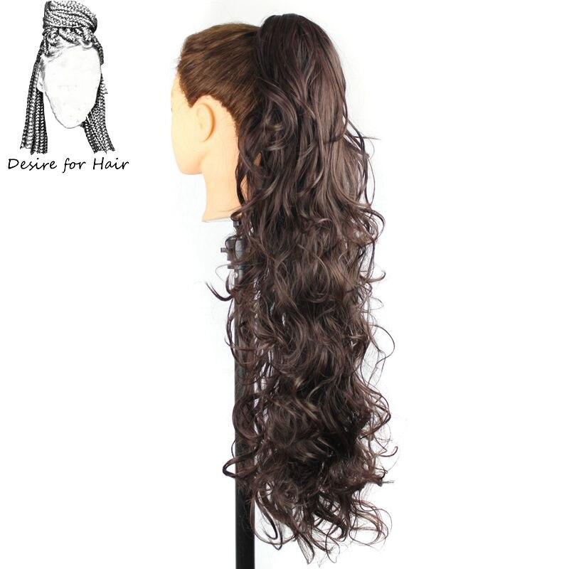 30 polegadas 220g resistente ao calor ondulado rabo de cavalo sintético extensões do cabelo com grampo da garra e cordão elástico em preto loira cor