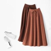 2018 Autumn Women Knitted Skirts High Waist Women Thick Winter Long Skirts Saia Faldas Female Women A Line Maxi Skirt Black