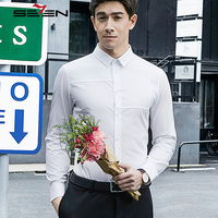 Seven7 Brand 2017 New Casual Fashion Shirts Slim Fit Solid Color Shirts Fashion Delicate Men S