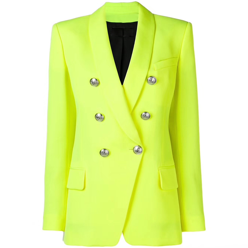 EXCELLENT QUALITY 2019 Baroque Designer Blazer For Women Ladies Double Breasted Metal Buttons Long Blazer Jacket Neon Yellow
