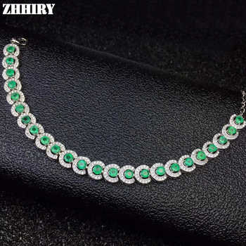 ZHHIRY Natural Emerald Bracelet Genuine 925 Sterling Silver Gem Stone Bracelets For Women Fine Jewelry - DISCOUNT ITEM  35% OFF All Category