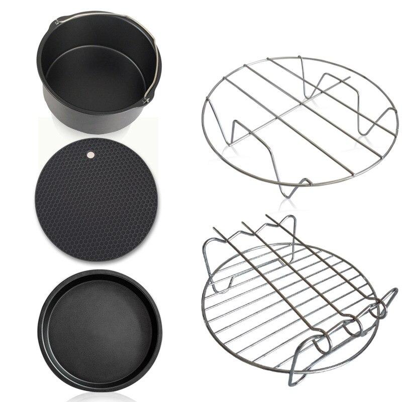 5 pièces accueil Air poêle accessoires ustensiles de cuisine ensembles acier inoxydable friteuse cuisson panier Pizza plaque Grill Pot Mat multi-usages - 3