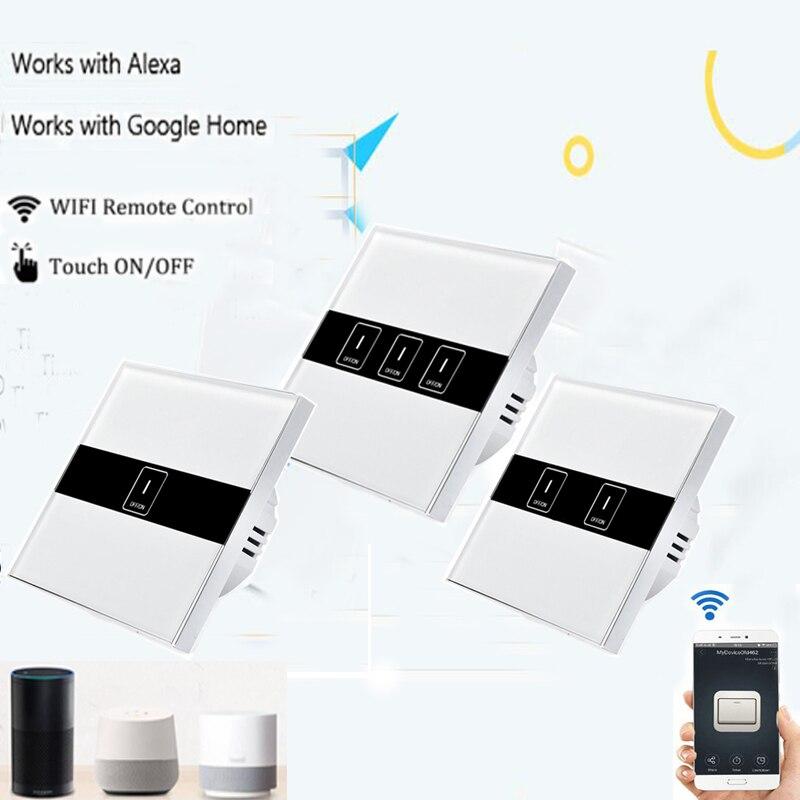 Купить с кэшбэком EU Smart Wifi Wall Touch Light Switch 1/2/3 Gang Touch WiFi Switch Smart Home ewelink APP Remote Controller Work with Alexa