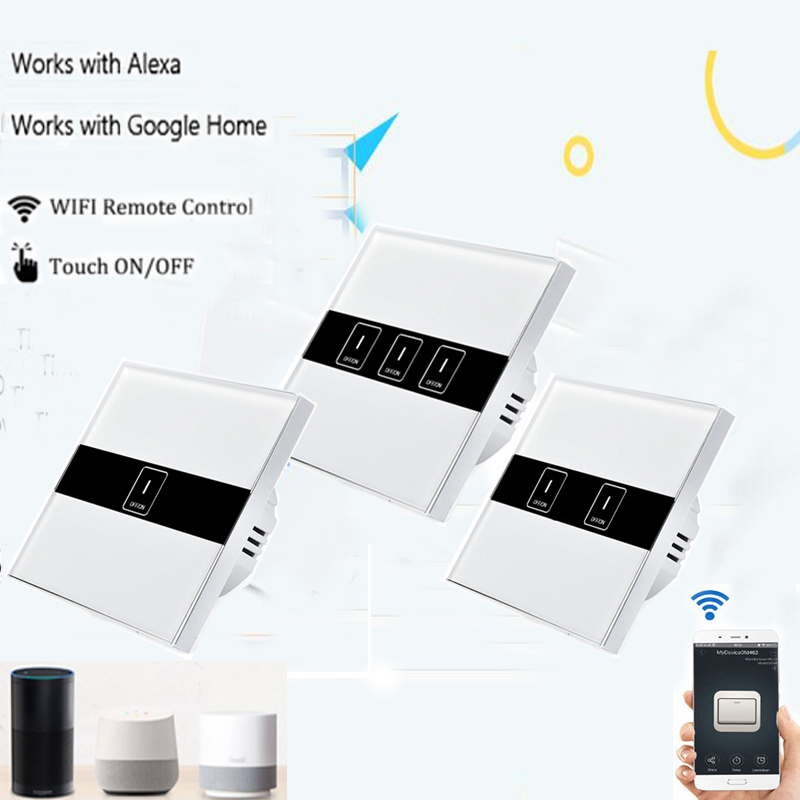 EU Smart Wifi Wall Touch Light Switch 1/2/3 Gang Touch/WiFi/APP Remote Smart Home Sonoff Ewelink APP Controller Work with Alexa sonoff t1 us smart wifi wall touch light switch 1 2 3 gang touch wifi rf app remote smart home controller work with google home