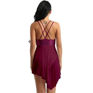 Image 5 - Tiaobug collant assimétrico para dança, collant sem mangas com lantejoulas malha assimétrica vestido collant adulto ginástica body
