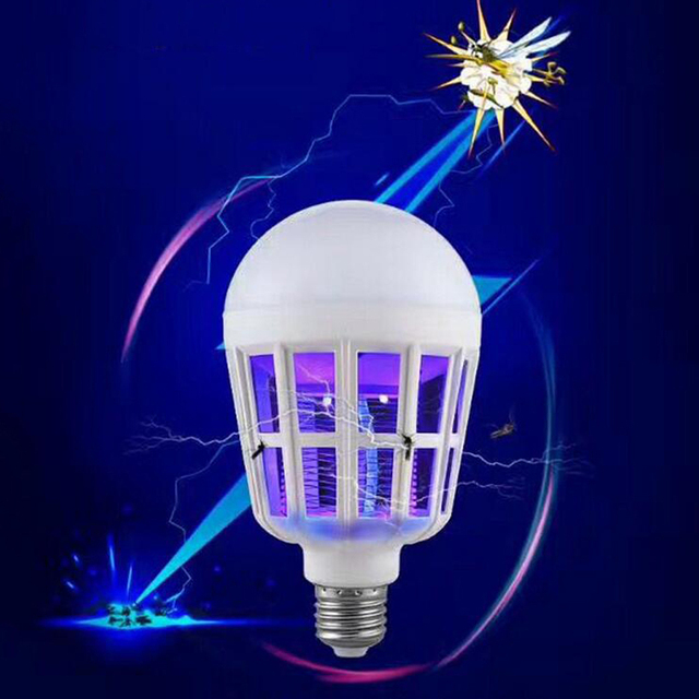 Indoor 2 Modes E27 LED Mosquito Killer Lamp Bulb Electric Trap Light Electronic Anti Insect Bug Pest Fly for Outdoor kitchen