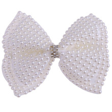 White Rhinestone Bow For Girl Kids Cute Pearls Hair With Alligator Clips Beads Hairgrip Accessories