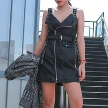 a421d265a2 Krótka czarna sukienka sundress V-neck PU leather dress kobiety różowy  zamek mini sukienka Sashvestido