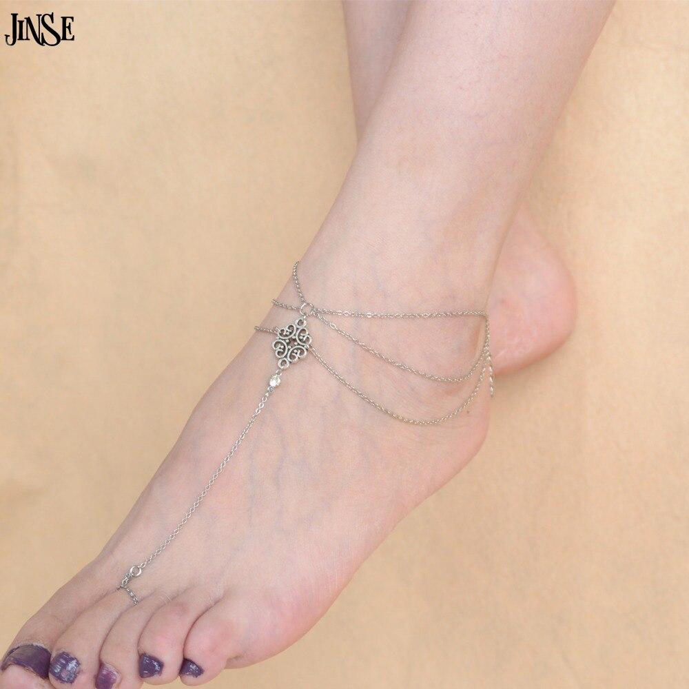 JINSE AK131 Sexy Silver Beach Anklets multilayer hollow flower Ankle Bracelet Foot Jewelry for Women Anklets Bracelet on the Leg