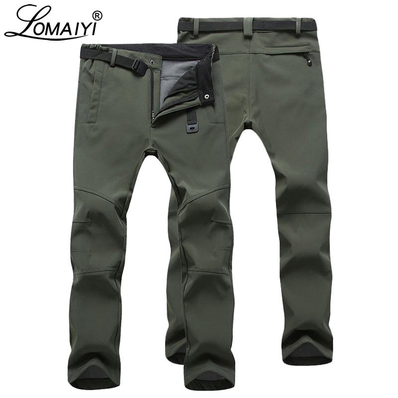 LOMAIYI Men's Warm Winter Pants For Men Stretch Wateproof Pants Mens Thermal Trousers Male Black Casual Work Pants Man AM054