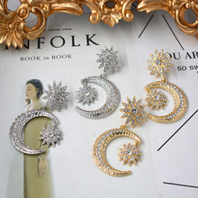 charm New  Baroque Fashion Star Moon Metal Long fashion earrings trendy crystal dangle women luxury