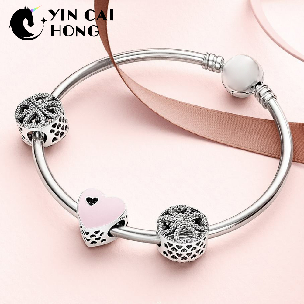 YCH 100% 925 Sterling Silver 1:1 SWEET LOVE HEART CHARM Petals of Love Four leaf Clover Beaded Bracelet Bangle Gift Set