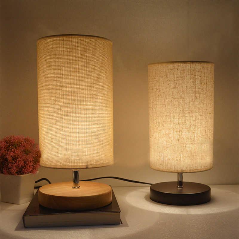 Современные Настольная лампа из ткани дерево белье Ночной Кровать Лампа Винтаж настольная лампа для спальни Гостиная настольная лампа E27 110 V 220 V США/ЕС Plug