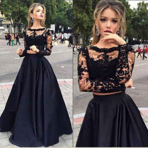 140232056 Women 2pc Clothes Sets Ladies Bridesmaid Long Maxi Skirts Women Lace  Fashion Long Sleeve Tops And