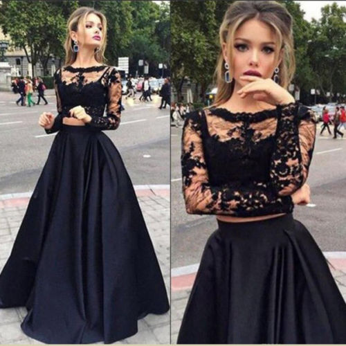 Women 2pc Clothes Sets Ladies  Bridesmaid Skirts Women Lace Fashion Long Sleeve Short Tops +Long Skirts Formal Autumn Set