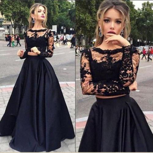 Women 2pc Clothes Sets Ladies  Bridesmaid Skirts Women Lace Fashion Long Sleeve Short Tops +Long Skirts Formal Autumn Set