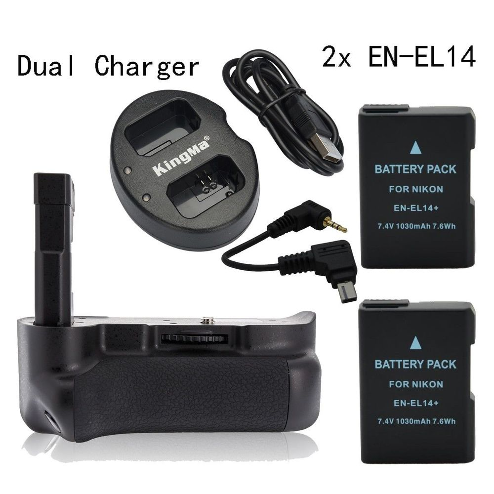 Meike Vertical Battery Pack Grip for Nikon D5300 D3300 + 2* EN-EL14 + Dual Charger new vertical battery grip pack 2x en el14 decoded battery for nikon d3100 d3200 d3300 camera 2 step shutter free shipping