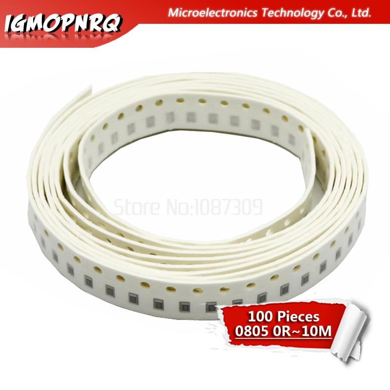 100Pcs 0805 SMD 1/4W Resistor 0R - 10M 0 Ohm 10R 100R 220R 330R 470R 1K 4.7K 10K 47K 100K 0 10 100 330 470 Ohm