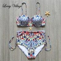 Plus Size Swimsuit Sexy Women Swimwear High Waist Push Up Bikini Set Print Brazillian Swimwear Female