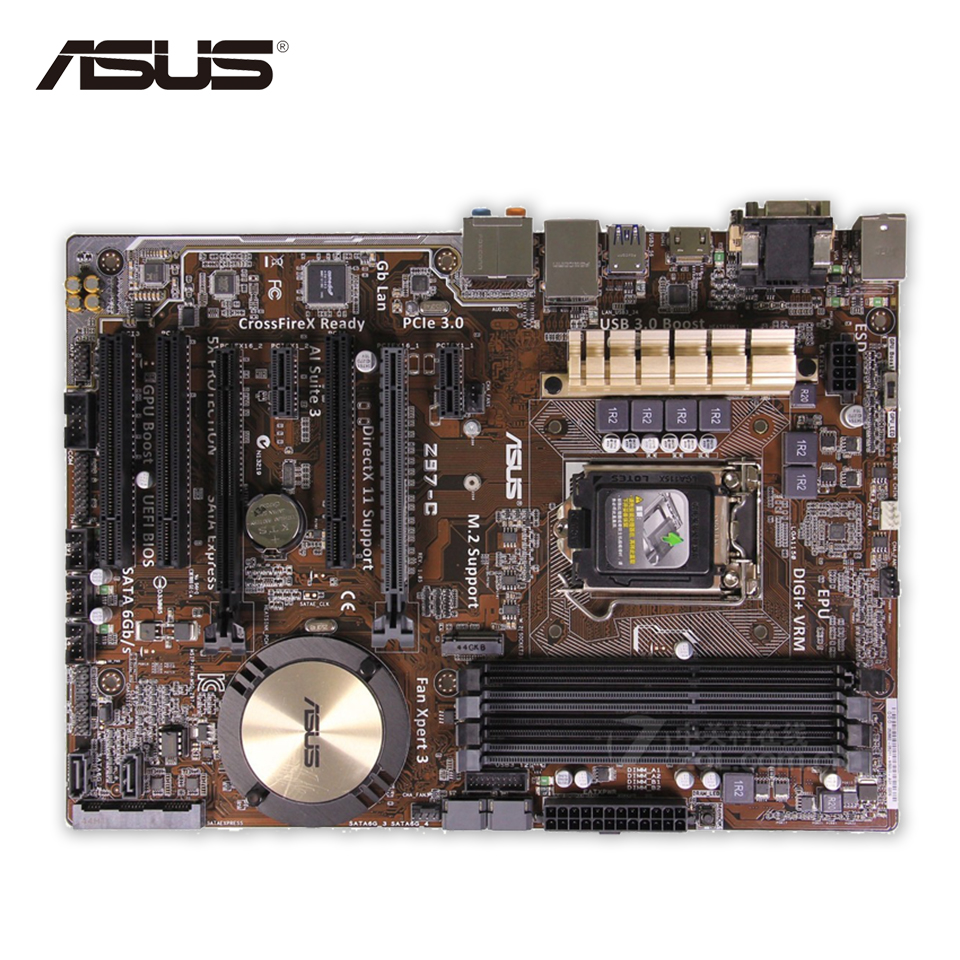 Asus Z97-C Desktop Motherboard Z97 Socket LGA 1150 i7 i5 i3 DDR3 32G SATA3 USB3.0 ATX Second-hand High Quality