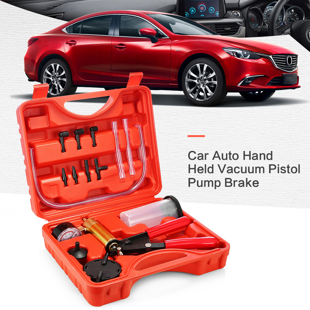High Quality Car Auto Hand Held Vacuum Pistol Pump Brake Bleeder Adaptor Fluid Reservoir Tester Kit 2 in 1 Tool Kits high quality pump cb 1 2